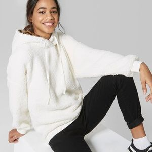 Wild Fable Sherpa Fleece Leopard Hoodie Sweatshirt